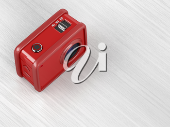 Red action camera on wooden table, 3D illustration