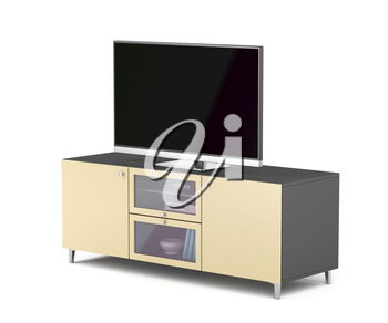 Flat screen tv on modern tv stand, 3D illustration