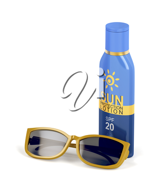 Sunscreen lotion with SPF 20 and female sunglasses on white background