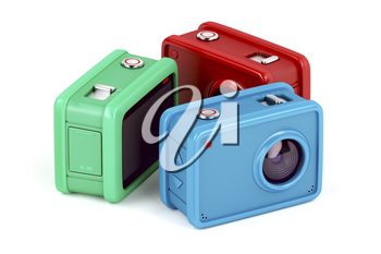 Three action cameras with different colors on white background