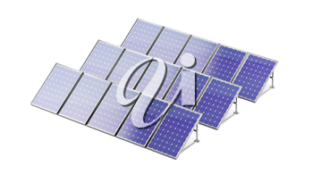 Group of solar panels on white background