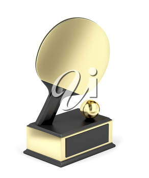 Gold table tennis trophy on white background