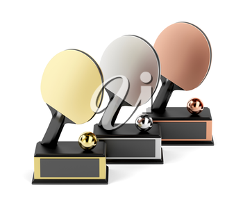 Table tennis trophies for first, second and third place