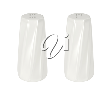 Ceramic salt and pepper shakers isolated on white background