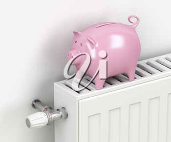 Piggy bank on central heating radiator. Concept image for saving money on heating.