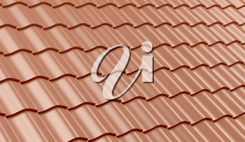 Red clay roof tiles for background