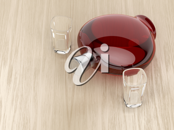 Red liqueur bottle and two empty glasses on wood table