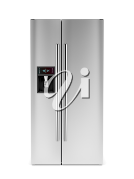 Side-by-side refrigerator with ice and water dispenser on white background