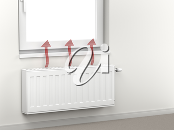 Central heating radiator in the room emitting hot air
