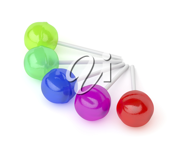Group of lollipops with different colors and flavors on white background