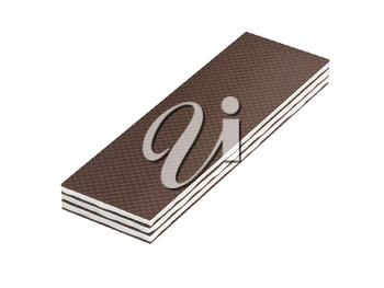 Brown wafer with vanilla or milk filling on white background