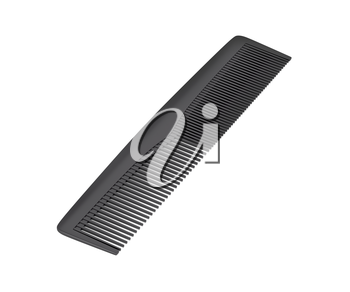 Black hair comb on white background