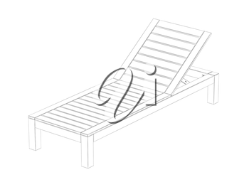 3d wire-frame model of sun lounger on white background