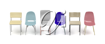 Chairs with different designs and colors on white background, front view