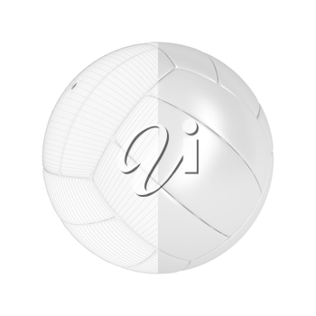3D render of volleyball ball with visible wire-frame
