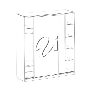 3d wire-frame model of wardrobe with sliding doors