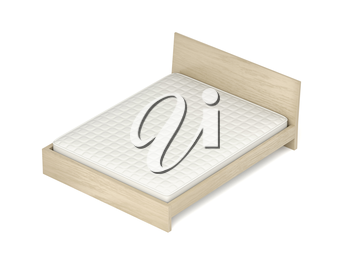Wooden bed with memory foam mattress on white background