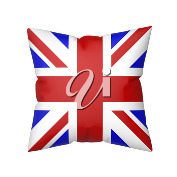 Pillow with the flag of the United Kingdom, isolated on white background