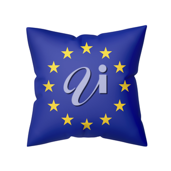 Pillow with the flag of Europe, isolated on white background