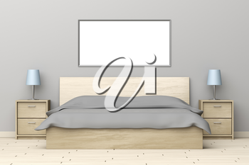 Modern bedroom interior with wooden bed and nightstands