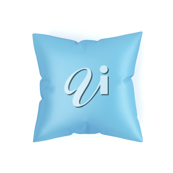 Top view of blue decorative pillow on white background