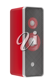 Red speaker isolated on white background
