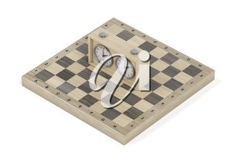 Wooden chess board and analog chess clock on white background