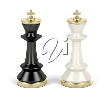 Front view of black and white chess kings on white background