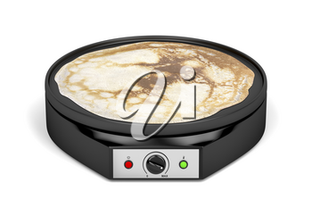 Electric pancake maker on white background