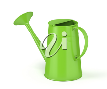 Green watering can on white background