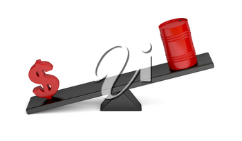 Disbalance between dollar sign and oil barrel on a seesaw, concept image