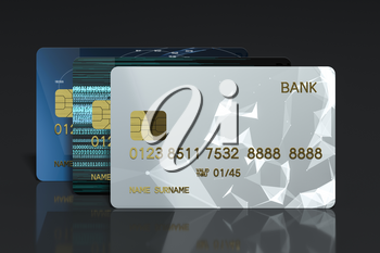 Pile of bank card with black background, 3d rendering. Computer digital drawing.