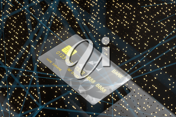 Bank card with glowing technological concept points, 3d rendering. Computer digital drawing.