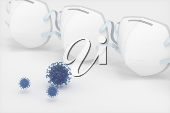 Medical mask and disease with white background,3d rendering. Computer digital drawing.