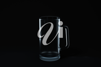 Transparent beer glass with black background, 3d rendering. Computer digital drawing.