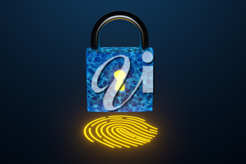 Security lock with fingerprint identification, 3d rendering. Computer digital drawing.
