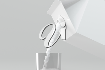 Milk pouring down from the paper box, 3d rendering. Computer digital drawing.