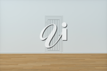 Wooden door with white wall background, 3d rendering. Computer digital drawing.
