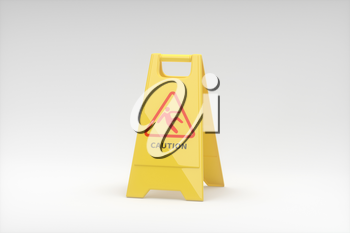 Yellow floor sign with caution on it, 3d rendering. Computer digital drawing.