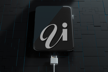 The charging mobile phone with circuit background, 3d rendering. Computer digital drawing.
