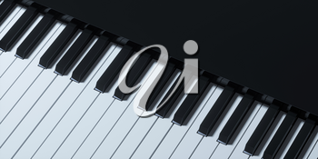 Piano keys with dark background, 3d rendering. Computer digital drawing.