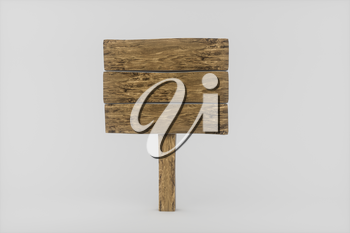 Empty wooden guide board with white background, 3d rendering. Computer digital drawing.