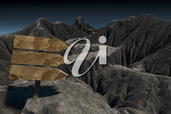 Empty wooden guide board and mountain road, 3d rendering. Computer digital drawing.
