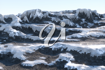 Mountain landscape tops covered with snow, 3d rendering. Computer digital drawing.