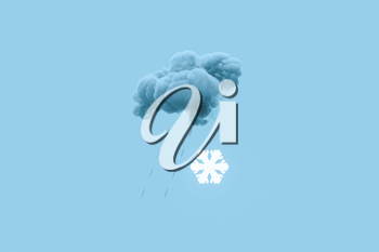Dark cloud and snow, weather forecast, 3d rendering. Computer digital drawing.