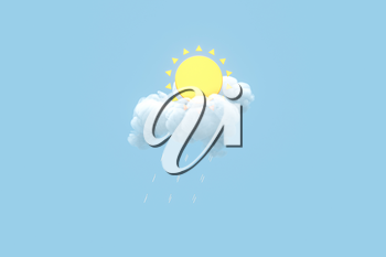 Cloud and sun, weather forecast, 3d rendering. Computer digital drawing,