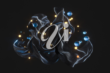 Flowing silk and glass beads with black background,3d rendering. Computer digital drawing.