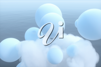 Balls and clouds floating on the lake,peaceful scene,3d rendering. Computer digital drawing.