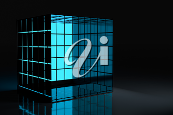 Neon and glass squares with dark background,3d rendering. Computer digital drawing.