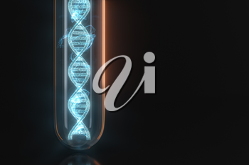 Test tube and chromosomes, DNA and genes,3d rendering. Computer digital drawing.